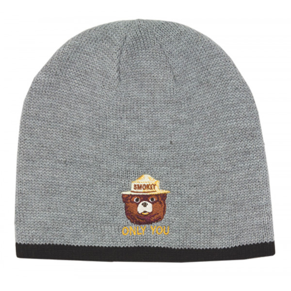 Smokey Embroidered Knit Hat with Contrasting Trim, Adult