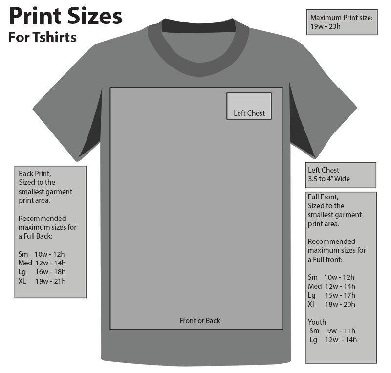 T Shirt Print Sizes The Printed Image